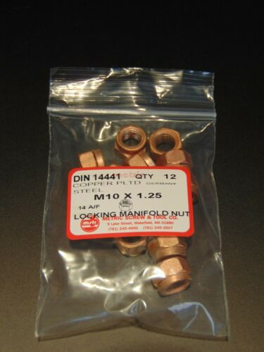 12pc M10x1.25 COPPER PLATED EXHAUST MANIFOLD LOCK NUT 14mm WRENCH SIZE DIN 14441