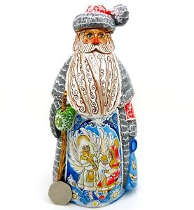Wooden-Figure-Carved-Russian-Doll-Father-Christmas-Santa-UNIQUE-NATIVITY-signed