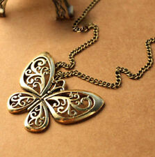 Vintage Bronze Butterfly Animal Dress Long Sweater Chain Necklace Pendant Charms