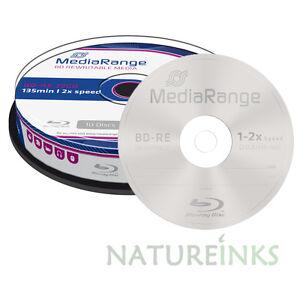 10-MediaRange-Regrabable-Bluray-BD-re-bdre-25-GB-2x-Discos-en-Blanco-MR501-Eje