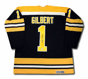 Gilles-Gilbert-Autographed-Black-Boston-Bruins-Jersey