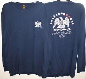 Polo-Ralph-Lauren-Big-amp-Tall-Mens-1XB-Navy-Blue-Eagle-Pocket-L-S-T-Shirt-NWT-1XB