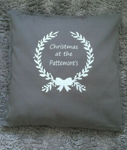 Christmas Cushion Cover Personalised Grey Cushion Cover Grandparent Gift Idea