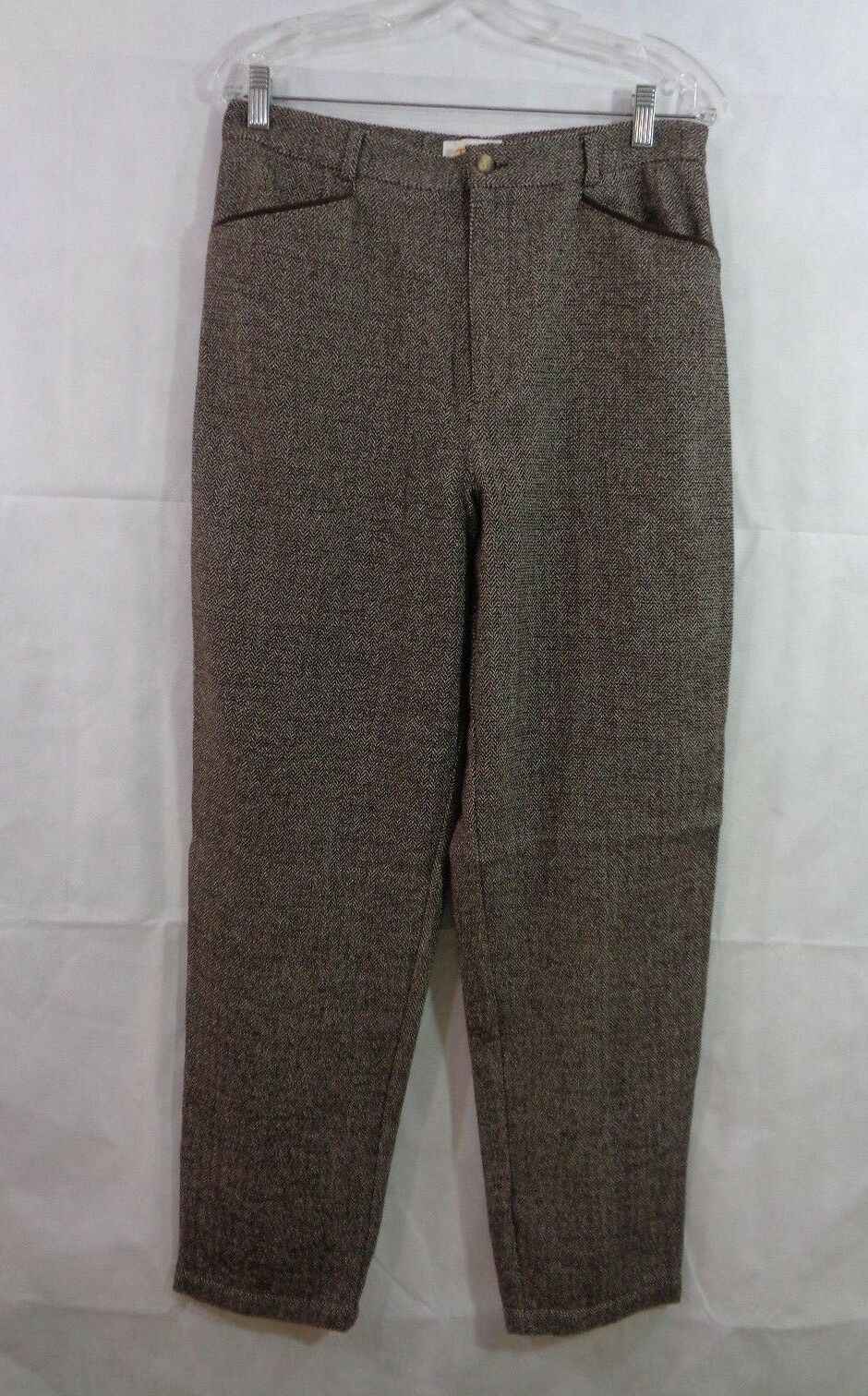 Talbots Women's Brown Herringbone Wool Blend Dress Pants Size 14 NWT
