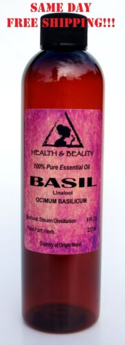 BASIL ESSENTIAL OIL LINALOOL AROMATHERAPY NATURAL 100% PURE 8 OZ