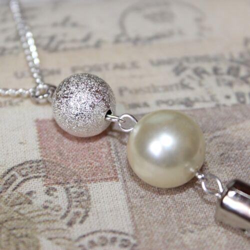 Aleta//década De 1920 largo Collar de plata con perla y sparkledust granos borla