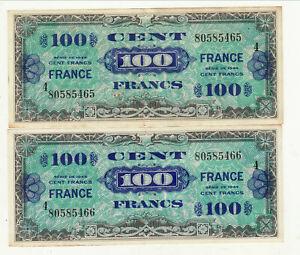 100 Francs Type 1944 Série 4 2 Billets Numèro Suive 1 Pli Pas épinglage
