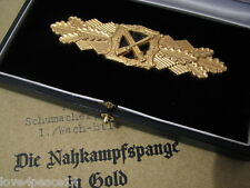 WWII WW2 Veteran WH Officer Army German Gold Close Combat Clasp Badge Deschler