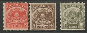 Chile-TELEGRAPHS-fiscal-Revenue-Cinderella-stamps-ma39-mint-gum-very-LH