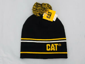 Caterpillar-Vintage-Snow-Cap-Beanie-CAT-Pom-hat-Black-NWT-One-Size-Winter