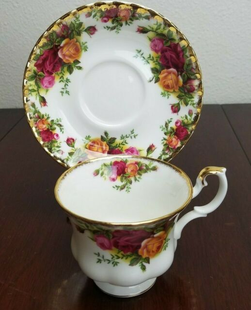 ROYAL ALBERT Old Country Roses Demitasse Cup & Saucer - Gold Gilded Bone China
