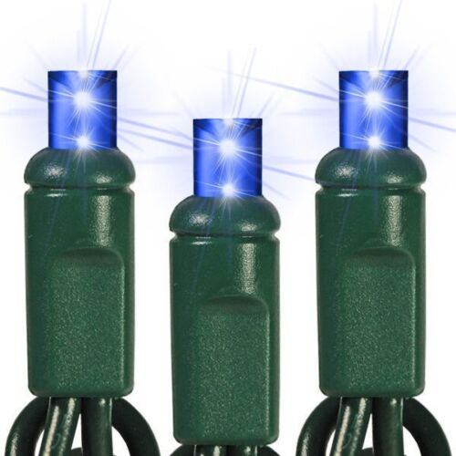 Blue LED Mini Christmas Lights Wide Angle 5mm Lights Green Wire Set Of 70 24 Ft