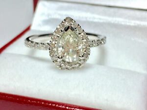 1.41 Ct Pear Cut Moissanite Engagement Ring 14K Bridal Solid White Gold Size 5