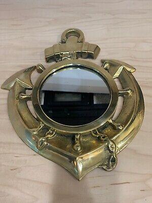 Vintage Solid Brass Anchor Mirror 13, Vintage Brass Mirror Wall Hanging