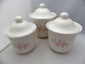 Pfaltzgraff-Tea-Rose-pattern-set-lot-of-3-Canisters-with-Lids-USA-EUC