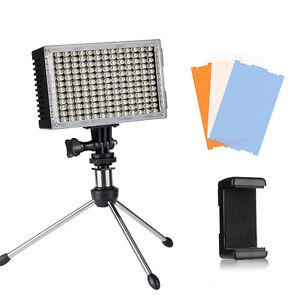 Pergear Adjustable 168 LED Video On Camera light + Mini Tripod/Mobile Phone Clip