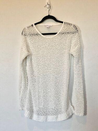 BCBGeneration WHITE Popcorn Sweater Long Sleeve Sh
