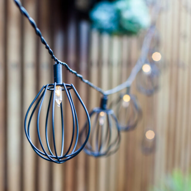 10 Black Metal Balloon Cage Solar Powered Garden Patio LED Fairy String Lights