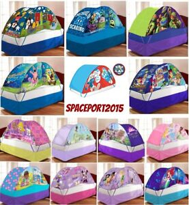 Image is loading Kids-Twin-Single-Size-BED-TENT-PUSH-Night-  sc 1 st  eBay & Kids Twin-Single Size BED TENT +PUSH Night LIGHT Lighted Canopy ...
