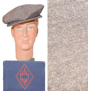 CASQUETTE-GAVROCHE-HOMME-PARIS-VINTAGE-HAT-CAP-BERET-TWEED-1940-1950-039-s-POLO