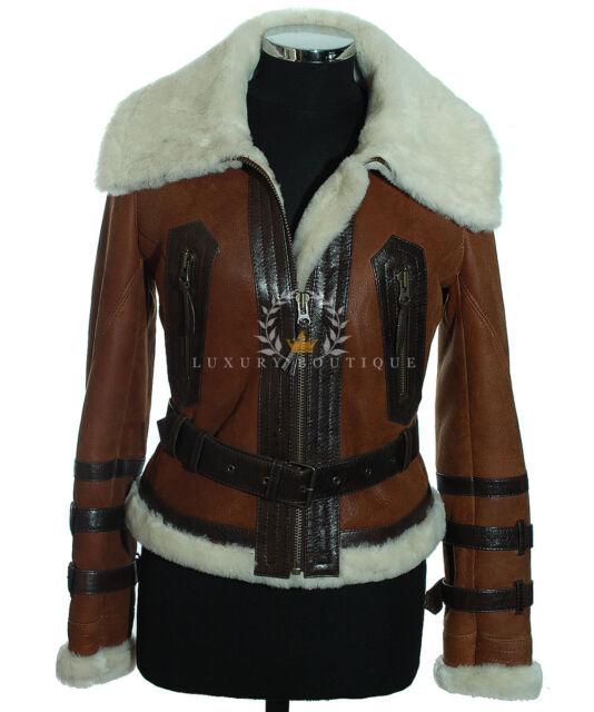 Ladies Aviator Rust Brown B3 Bomber Shearling Sheepskin Leather Flying  Jacket be1ba492c61