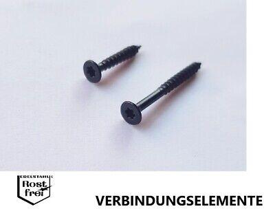 50 Stück schwarze Spanplattenschrauben EDELSTAHL A2 SCHWARZ Senkkopf 3,0X30 TORX