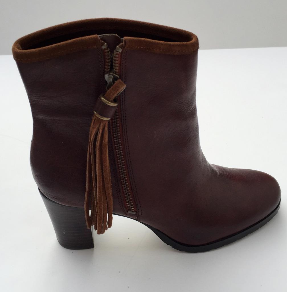 Lauren Ralph Lauren Carah bootie boots Braun 149 NEU in box Leder 7.5 tassel