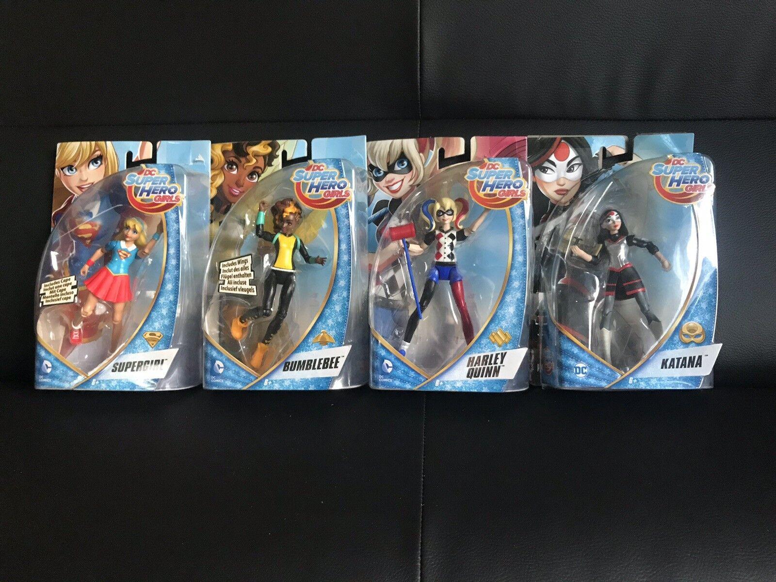 "️DC Superhero Girls Bundle Harley Quinn Supergirl Bumblebee Katana 6"" Figures ️"