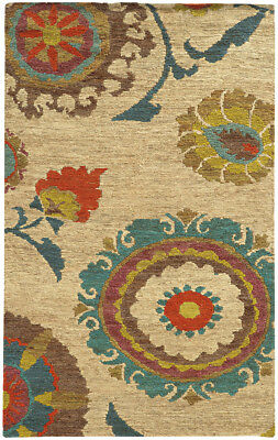 Tommy Bahama Beige Circles Petals Stems Contemporary Area