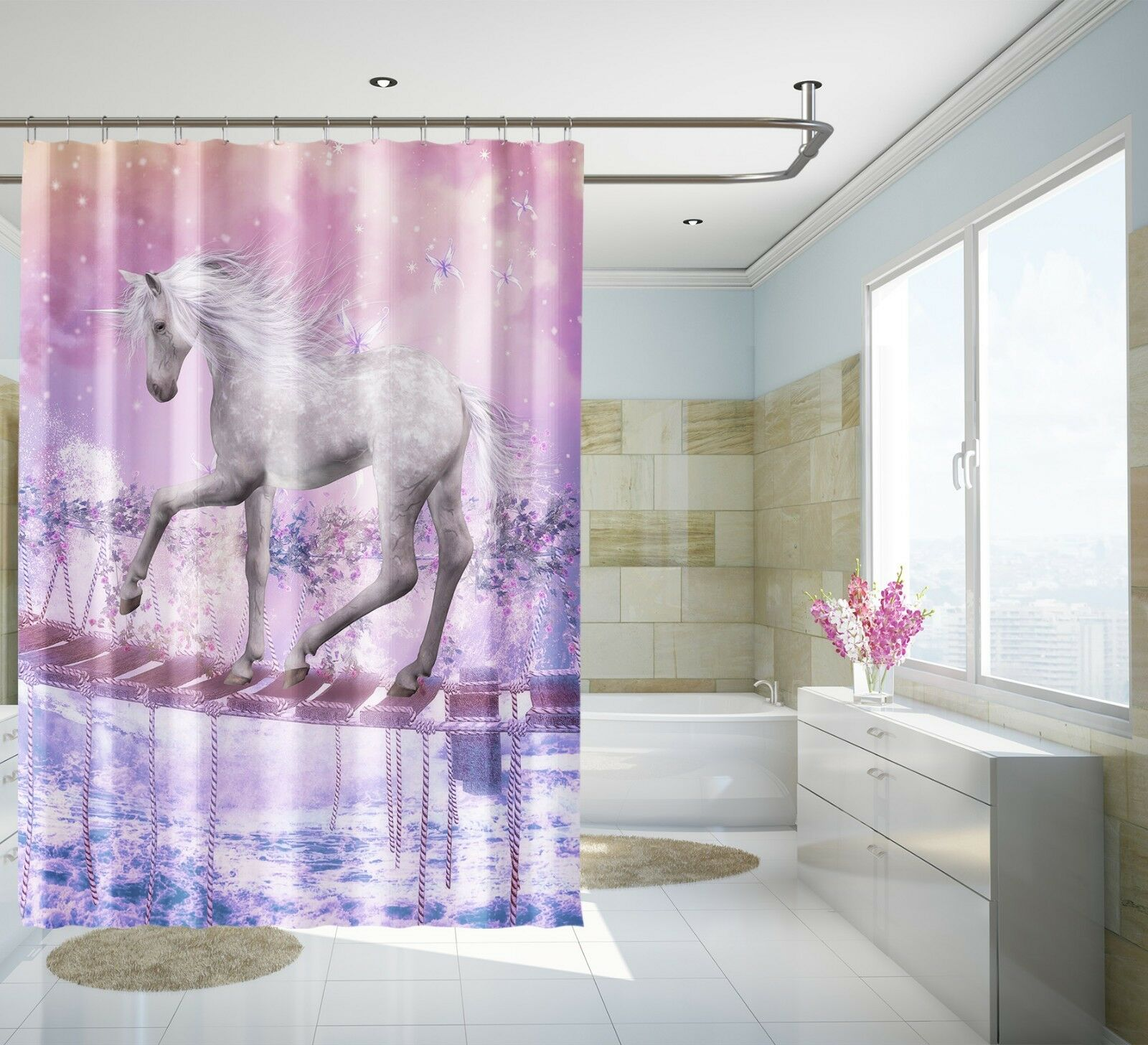 3D Licorne Rose 468 Rideau de Douche Imperméable Fibre Salle de Bain Home Windows Toilette