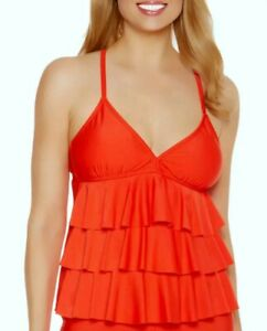 Catalina-Orange-Sizzle-Color-Swimsuit-Tankini-top-Size-Large-12-14-New-without