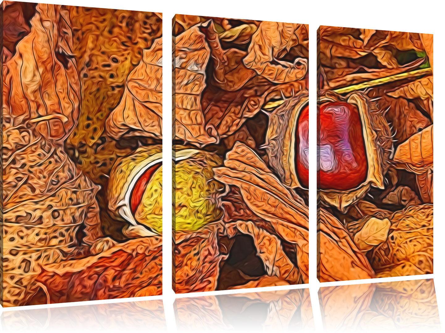 Herbst Kastanie 3-Teiler Leinwandbild Wanddeko Kunstdruck
