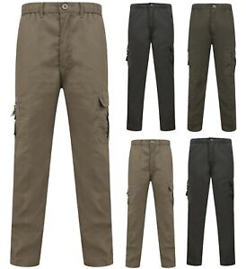 Mens-Combat-Trousers-Work-Utility-Cotton-Blend-New-Pockets-Elasticated-Waist