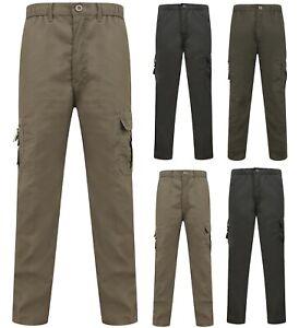 Mens-Combat-Trousers-Work-Utility-Cotton-Blend-New-Pockets-Elasticated-Waist