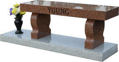 Granite Memorial Bench with base and vase