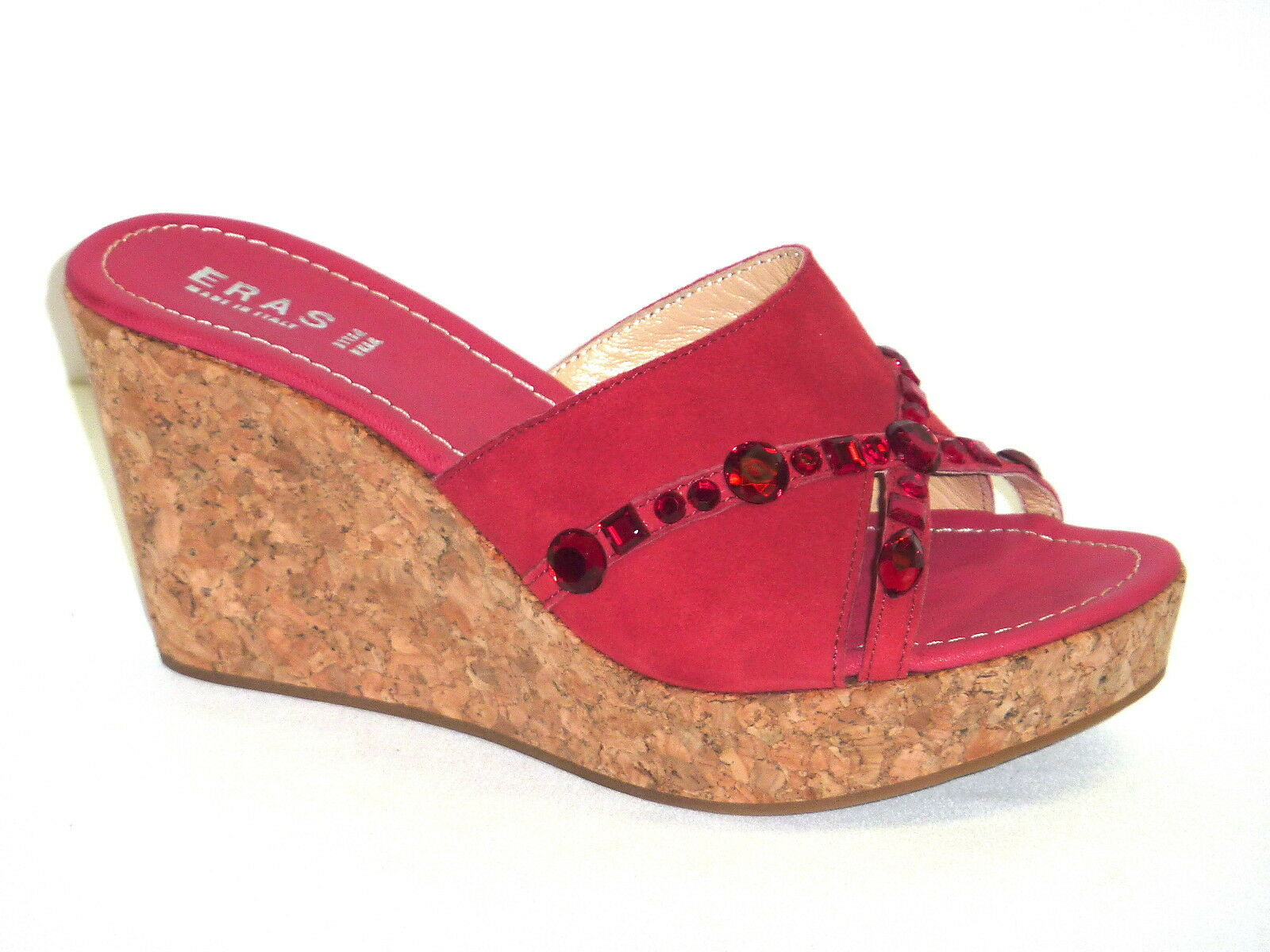 833 ZEPPE SANDALI DONNA ROSSO FONDO SUGHERO PELLE NABUK ROSSO DONNA Made in Italy n. 40 ee1480