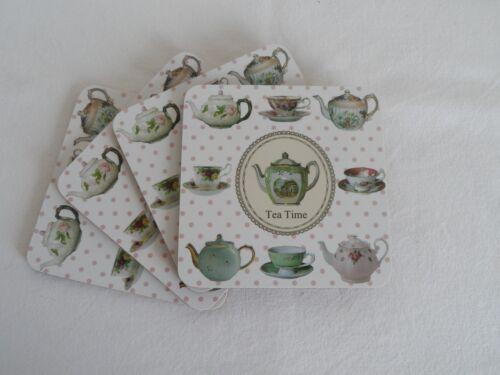 Set 4 ou 8 carré vintage chic pottery théière tasse boissons mats coasters boxed