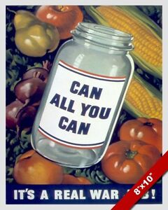 Details About Canning Food Preservation Wwii Propaganda Poster Painting Real Canvas Art Print