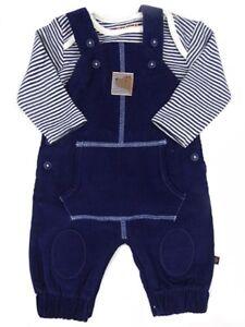 Baby Boys 100/% cotton Stripey Blue Cream Short Dungarees Romper 0 3 6 9 12 m