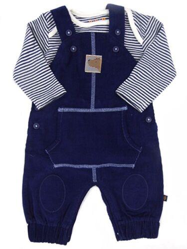 Ex Bhs Bébé Garçons Bleu Marine Bear Dungarees /& Femme à Rayures Costume Set Age 0 3 6 9 12 mois