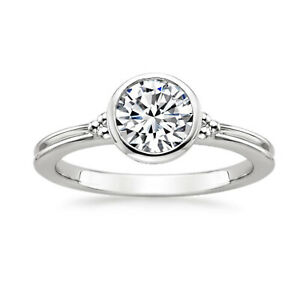 1.00 Ct Certified Moissanite Engagement Ring 18K Solid White Gold ring Size 9