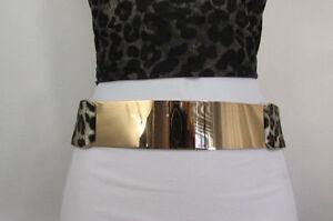 Nuevo Mujer Leopardo Negro Cintura Elástica Cinturón de Moda Dorado Placa Metal