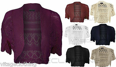 New LADIES WOMEN  Crochet Knitted Short Sleeve Shrug Ladies Cardigan Bolero Top
