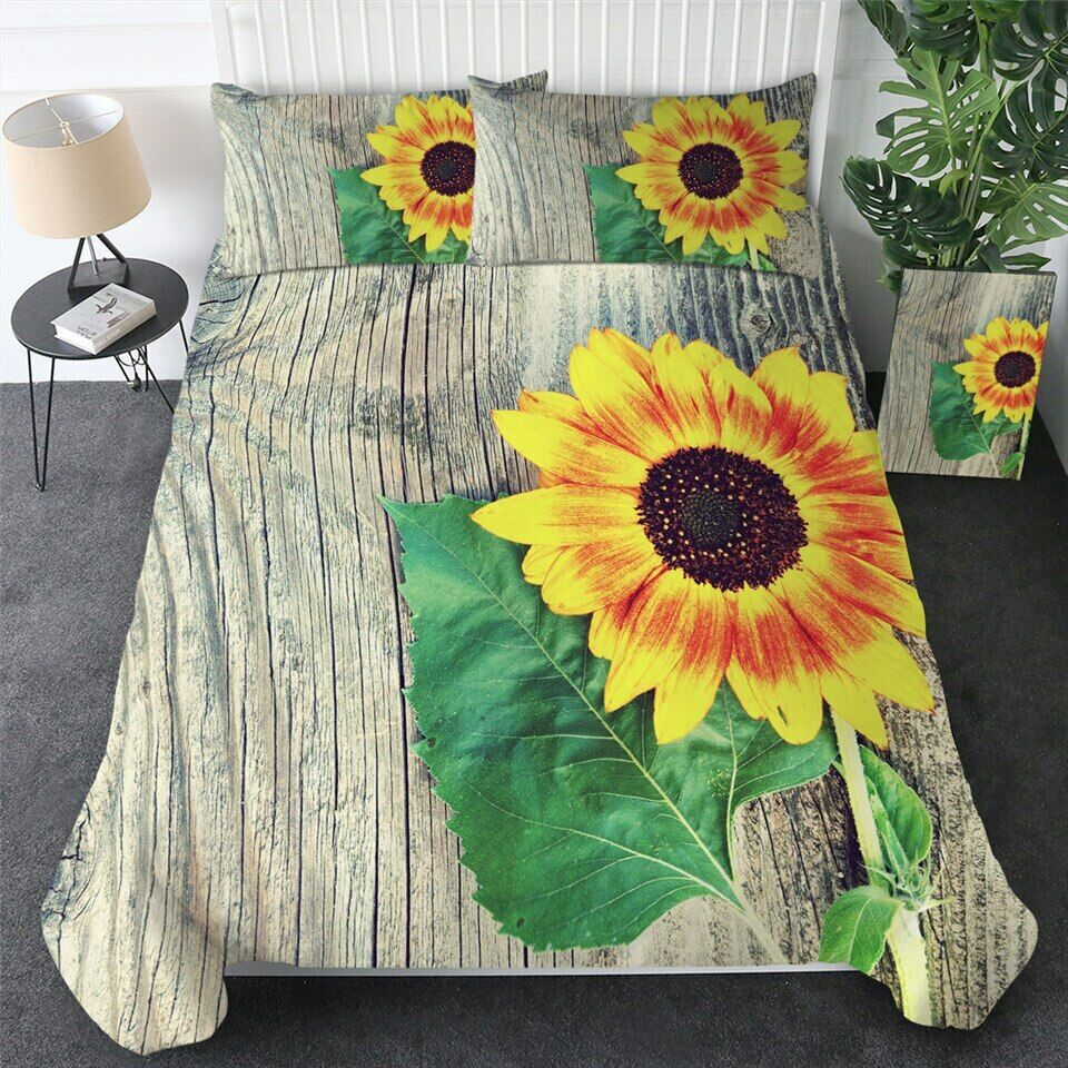 Blooming Sunflower Floral Flower Double Single Quilt Duvet Pillow Cover Bed Set