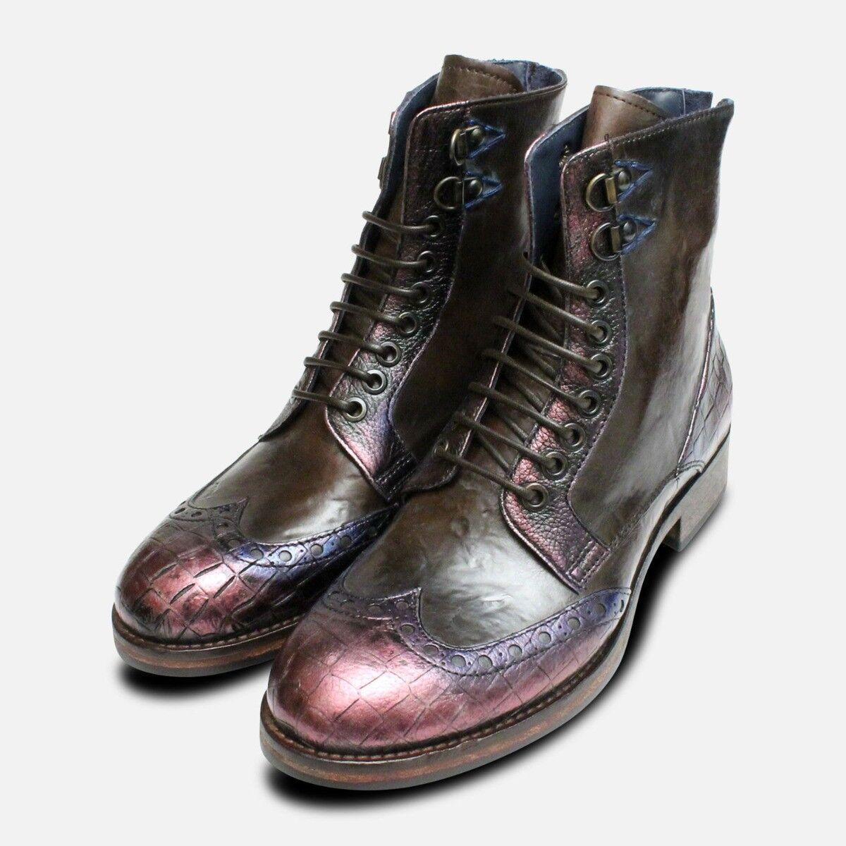 Metálico morado morado morado & Dark marrón botas italianas Diseñador  marcas en línea venta barata