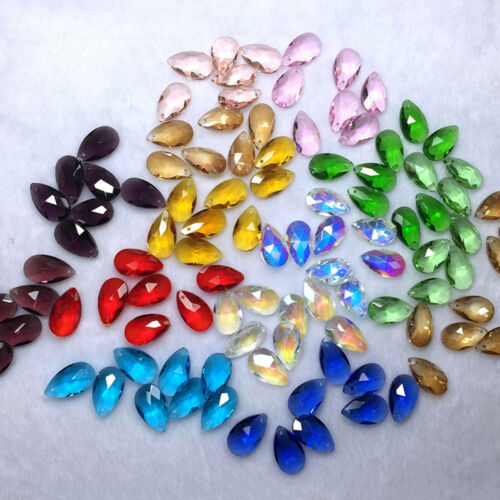 10Pcs 22mm Teardrop Crystal Glass Loose Beads Jewelry Making For Pendants Crafts
