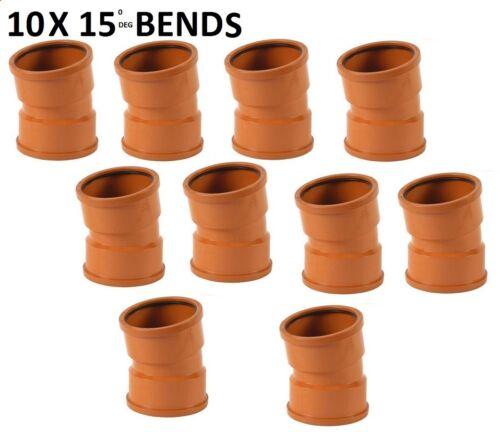 10 x 110mm Underground Drainage 15deg Double Socket Bend