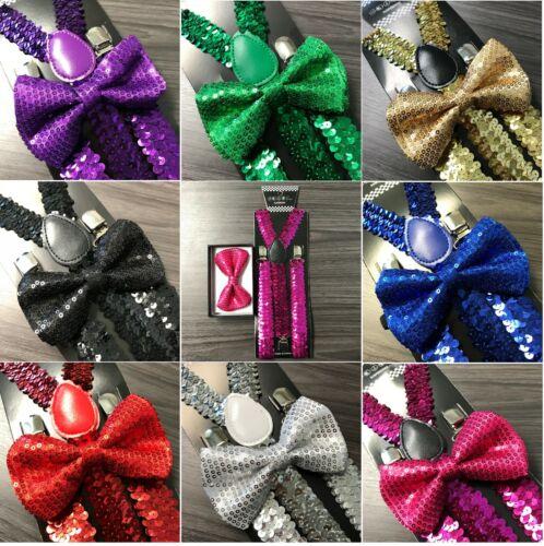 Sequin Clip on Bow-Tie Matching Set for Adults Men Women Sequin Suspender