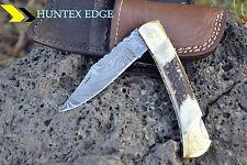 "Huntex Handmade Damascus 5"" Hunting Folding Deer Horn Puma Pocket Knife"