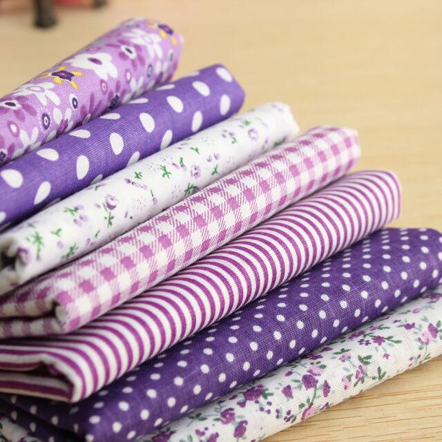 7Pzs Púrpura Paquetes Telas Patchwork Algodón Retales Costura Retazos 50 x 47 cm